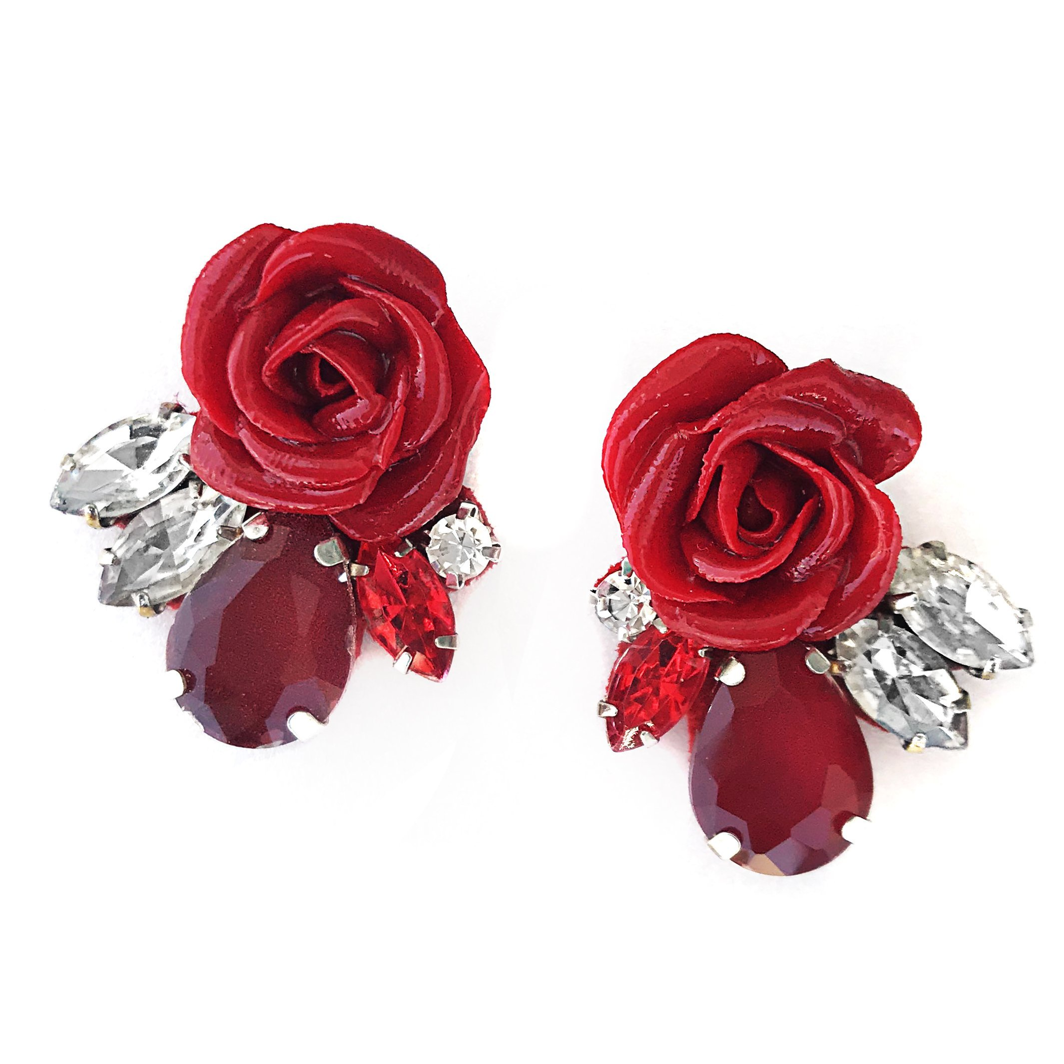 taglia 40 01b9b d53ab Orecchini fiori rossi - JM085